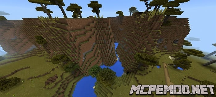 village at spawn and mountains
