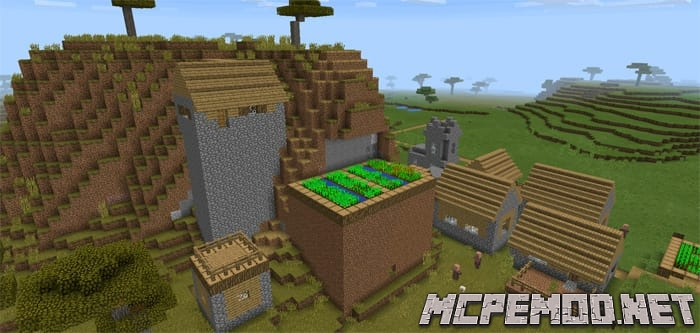 village at spawn and mountains seed mcpe