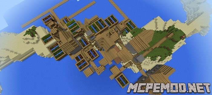 double village on the island seed mcpe