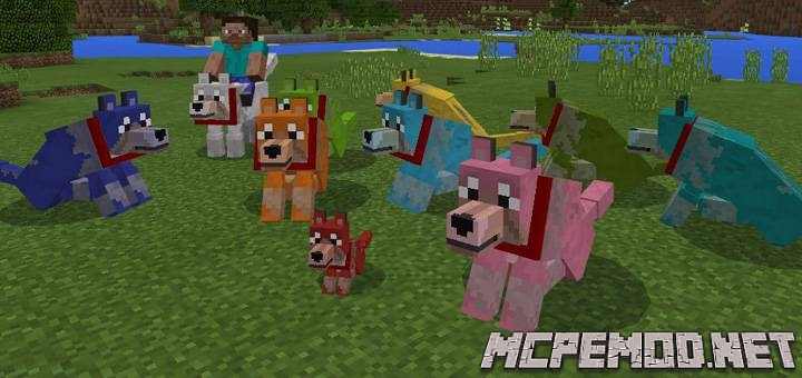 colorful mutant wolves map mcpe