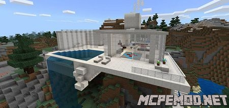 mountain modern house map mcpe